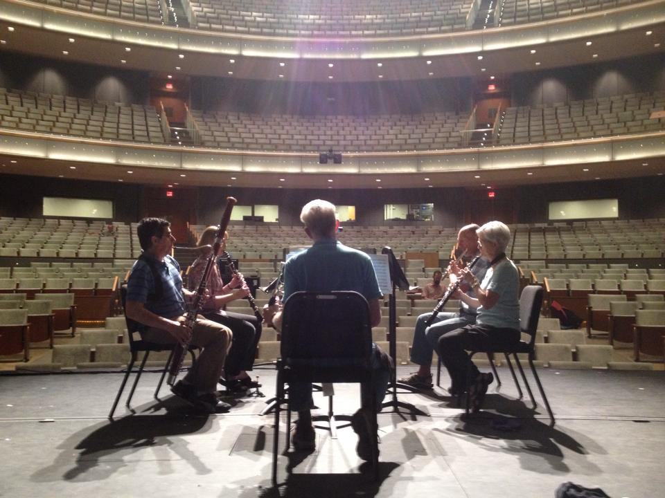 LIROS had the honor of playing on the stage of Hancher Auditorium before its 2016 opening. Acousticians adjusted panels, curtains and the band's position to find the best configuration for a woodwing quintet.