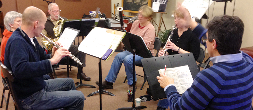 Benjamin Coelho, professor of bassoon at The University of Iowa, gives the quintet a clinic in 2014.